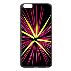 Fireworks Pink Red Yellow Black Sky Happy New Year Apple Iphone 6 Plus/6s Plus Black Enamel Case by AnjaniArt