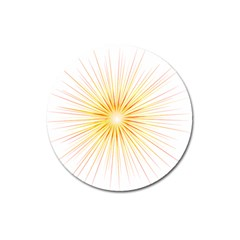 Fireworks Light Yellow Space Happy New Year Red Magnet 3  (round) by AnjaniArt