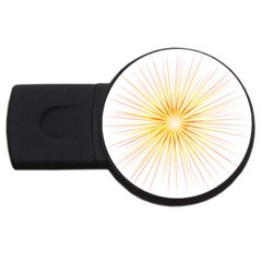 Fireworks Light Yellow Space Happy New Year Red Usb Flash Drive Round (2 Gb) by AnjaniArt