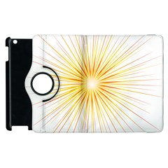 Fireworks Light Yellow Space Happy New Year Red Apple Ipad 3/4 Flip 360 Case by AnjaniArt