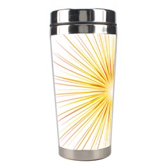 Fireworks Light Yellow Space Happy New Year Red Stainless Steel Travel Tumblers by AnjaniArt