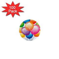 Birthday Happy New Year Balloons Rainbow 1  Mini Buttons (100 Pack)  by AnjaniArt