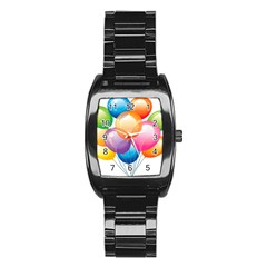Birthday Happy New Year Balloons Rainbow Stainless Steel Barrel Watch by AnjaniArt