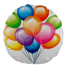 Birthday Happy New Year Balloons Rainbow Large 18  Premium Flano Round Cushions by AnjaniArt