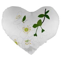 Flower Floral Sakura Large 19  Premium Heart Shape Cushions by AnjaniArt