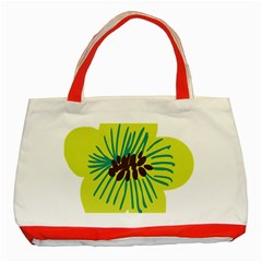Flower Floral Green Classic Tote Bag (red) by AnjaniArt