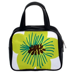 Flower Floral Green Classic Handbags (2 Sides) by AnjaniArt