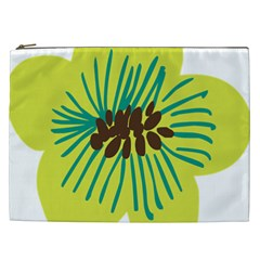 Flower Floral Green Cosmetic Bag (xxl)  by AnjaniArt