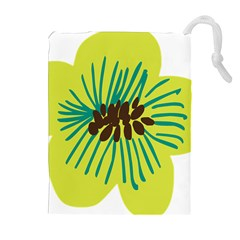 Flower Floral Green Drawstring Pouches (extra Large) by AnjaniArt