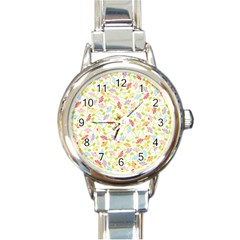 Flower Rainbow Sexy Leaf Plaid Vertical Horizon Round Italian Charm Watch by AnjaniArt