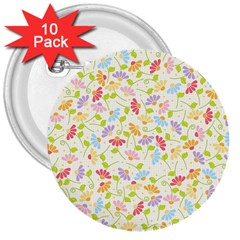 Flower Rainbow Sexy Leaf Plaid Vertical Horizon 3  Buttons (10 Pack)  by AnjaniArt