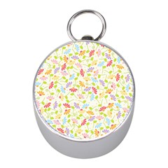 Flower Rainbow Sexy Leaf Plaid Vertical Horizon Mini Silver Compasses by AnjaniArt