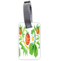Fruit Flower Leaf Red White Green Starflower Luggage Tags (two Sides) by AnjaniArt