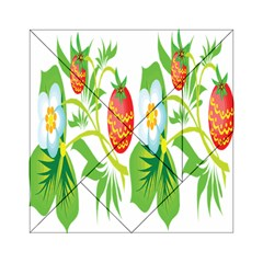 Fruit Flower Leaf Red White Green Starflower Acrylic Tangram Puzzle (6  X 6 ) by AnjaniArt