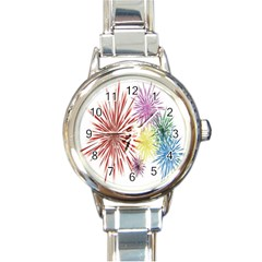 Happy New Year City Semmes Fireworks Rainbow Red Blue Yellow Purple Sky Round Italian Charm Watch by AnjaniArt