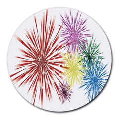 Happy New Year City Semmes Fireworks Rainbow Red Blue Yellow Purple Sky Round Mousepads by AnjaniArt