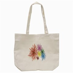 Happy New Year City Semmes Fireworks Rainbow Red Blue Yellow Purple Sky Tote Bag (cream) by AnjaniArt
