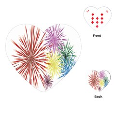 Happy New Year City Semmes Fireworks Rainbow Red Blue Yellow Purple Sky Playing Cards (heart)  by AnjaniArt
