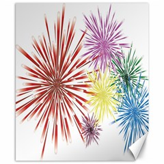 Happy New Year City Semmes Fireworks Rainbow Red Blue Yellow Purple Sky Canvas 8  X 10  by AnjaniArt
