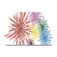 Happy New Year City Semmes Fireworks Rainbow Red Blue Yellow Purple Sky Plate Mats by AnjaniArt