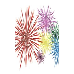 Happy New Year City Semmes Fireworks Rainbow Red Blue Yellow Purple Sky Shower Curtain 48  X 72  (small)  by AnjaniArt