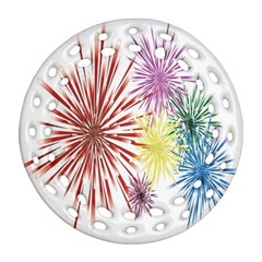 Happy New Year City Semmes Fireworks Rainbow Red Blue Yellow Purple Sky Round Filigree Ornament (two Sides) by AnjaniArt