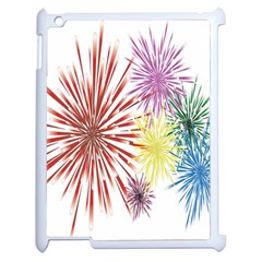 Happy New Year City Semmes Fireworks Rainbow Red Blue Yellow Purple Sky Apple Ipad 2 Case (white) by AnjaniArt