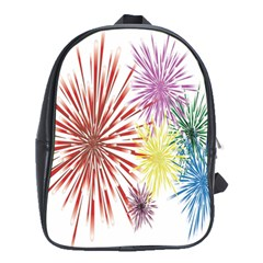 Happy New Year City Semmes Fireworks Rainbow Red Blue Yellow Purple Sky School Bag (xl) by AnjaniArt