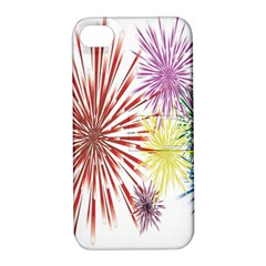 Happy New Year City Semmes Fireworks Rainbow Red Blue Yellow Purple Sky Apple Iphone 4/4s Hardshell Case With Stand by AnjaniArt