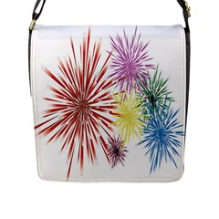 Happy New Year City Semmes Fireworks Rainbow Red Blue Yellow Purple Sky Flap Messenger Bag (l)  by AnjaniArt