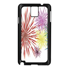 Happy New Year City Semmes Fireworks Rainbow Red Blue Yellow Purple Sky Samsung Galaxy Note 3 N9005 Case (black) by AnjaniArt
