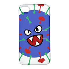 Monster Virus Blue Cart Big Eye Red Green Apple Iphone 4/4s Hardshell Case With Stand by AnjaniArt
