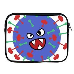 Monster Virus Blue Cart Big Eye Red Green Apple Ipad 2/3/4 Zipper Cases by AnjaniArt
