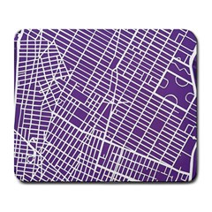New York Map Art City Street Purple Line Large Mousepads by AnjaniArt