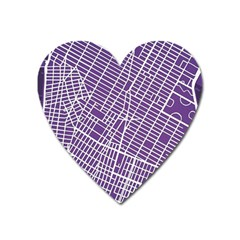 New York Map Art City Street Purple Line Heart Magnet by AnjaniArt