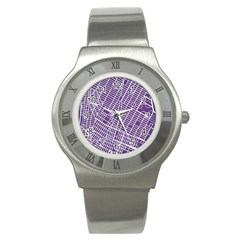 New York Map Art City Street Purple Line Stainless Steel Watch by AnjaniArt