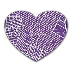 New York Map Art City Street Purple Line Heart Mousepads by AnjaniArt