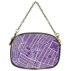 New York Map Art City Street Purple Line Chain Purses (two Sides)  by AnjaniArt