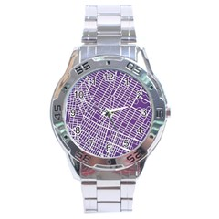 New York Map Art City Street Purple Line Stainless Steel Analogue Watch by AnjaniArt