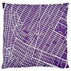 New York Map Art City Street Purple Line Large Cushion Case (two Sides) by AnjaniArt