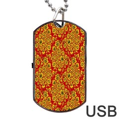 Flower Rose Red Yellow Sexy Dog Tag Usb Flash (two Sides) by AnjaniArt