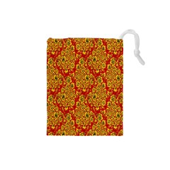 Flower Rose Red Yellow Sexy Drawstring Pouches (small)  by AnjaniArt