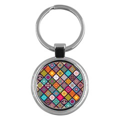 Flower Star Sign Rainbow Sexy Plaid Chevron Wave Key Chains (round)  by AnjaniArt