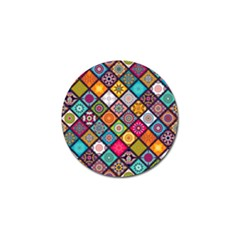 Flower Star Sign Rainbow Sexy Plaid Chevron Wave Golf Ball Marker by AnjaniArt