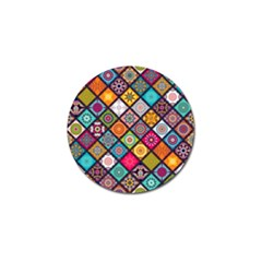 Flower Star Sign Rainbow Sexy Plaid Chevron Wave Golf Ball Marker (10 Pack) by AnjaniArt