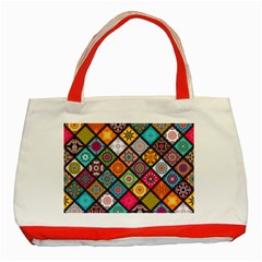 Flower Star Sign Rainbow Sexy Plaid Chevron Wave Classic Tote Bag (red)