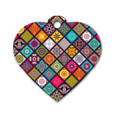 Flower Star Sign Rainbow Sexy Plaid Chevron Wave Dog Tag Heart (one Side) by AnjaniArt
