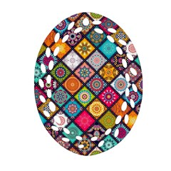 Flower Star Sign Rainbow Sexy Plaid Chevron Wave Oval Filigree Ornament (two Sides) by AnjaniArt