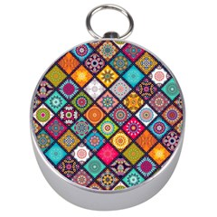 Flower Star Sign Rainbow Sexy Plaid Chevron Wave Silver Compasses by AnjaniArt