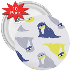 Seals Sea Lions Animals Fish 3  Buttons (10 Pack)  by AnjaniArt